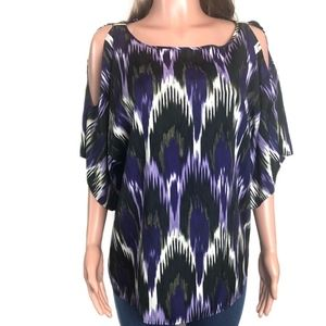 Michael Kors Purple Print Cold Shoulder Top Size L